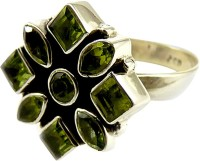Miska Silver Beautiful Silver Peridot Silver Plated Ring