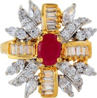 Moda Stella American Diamond 24 Karat Gold Plated Adjustable Red Pears With Rectangular Baguates And Marquees Stone Ladies Ring Brass 24K Yellow Gold, Rhodium Ring