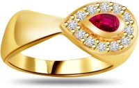 Surat Diamond Classic Diamond & Pear Ruby Ring SDR981 Yellow Gold Diamond, Ruby 18 K Ring