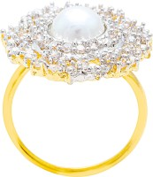 Memoir Pearl Studded Adjustable Size Brass Cubic Zirconia Yellow Gold NA K Ring