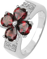 Voylla 925 Floral Studded With Garnets Sterling Silver Garnet Silver Plated Ring