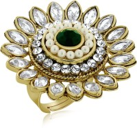 Spargz Floral Design Finger Ring Studded With Pearl & Ruby Alloy NA Yellow Gold NA K Ring
