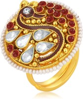 Sukkhi Fabulous Designer Traditional Cocktail Peacock Gold Plated American Diamond Alloy 18K Yellow Gold Ring
