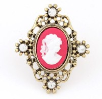 Cinderella Collection By Shining Diva Golden & Pink CZ Alloy Ring
