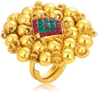 Sukkhi Blossomy Designer Traditional Cocktail Invisible Setting Gold Plated American Diamond Alloy 18K Yellow Gold Ring