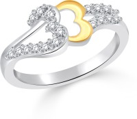 Classic Shadow Hearts Gold & Rhodium Plated Ring For Women Size13 [CJ1052FRRG13] Alloy Cubic Zirconia White Gold 18 K Ring
