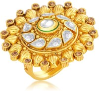 Sukkhi Modern Designer Traditional Cocktail Gold Plated American Diamond Alloy 18K Yellow Gold Ring