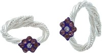 Memoir Purple Flower Shape, Rope Design Adjustable Brass Cubic Zirconia Silver Toe Ring Set