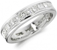 Rm Jewellers 92.5 Pure Band With Princess Silver Cubic Zirconia Ring