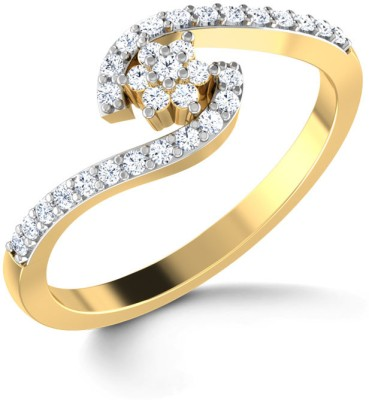 CaratLane Floral Clasp Gold Diamond Ring