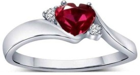 Kataria Jewellers Colour Spark White Gold Plated Silver Diamond Ring