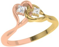 TBZTheOriginal TBZ - The Original 18KT Rose Heart N Heart Ladies Ring With 0.05cts Diamonds Rose Gold Diamond Rhodium 18 K Ring