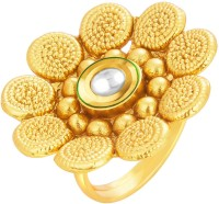 Sukkhi Beguiling Designer Traditional Cocktail Jalebi Gold Plated Kundan Alloy 18K Yellow Gold Ring
