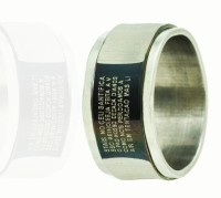 Alphaman Faith Of Cross Latin Inscription Dual Tone Metal, Alloy Ring