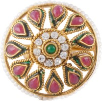 Aaina Copper Cubic Zirconia Yellow Gold Plated Ring
