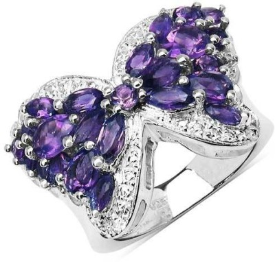 Johareez 3.48CTW Genuine Amethyst .925 Sterling Silver Butterfly Shape Ring Silver Amethyst Sterling Silver NA K Ring available at Flipkart for Rs.3879