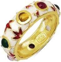 Johareez 3.30 Grams Multi Tourmaline Gold Plated .925 Sterling Silver Multicolor Enamel Ring Silver NA Sterling Silver NA K Ring