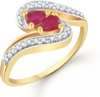 Vighnaharta Dual Trendy Ruby Brass Cubic Zirconia Yellow Gold Ring
