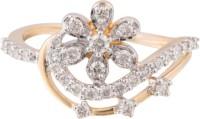 Wite&Gold Hibiscus Flower Yellow Gold Diamond 18K Yellow Gold 18 K Ring