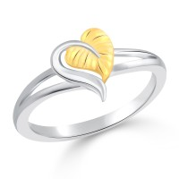 Classic Lovely Heart Plain Gold & Rhodium Plated Ring For Women Size11 [CJ1081FRRG11] Alloy Cubic Zirconia White Gold 18 K Ring