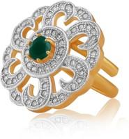 American Diamond Copper, Brass Diamond, Emerald Rhodium, 18K Yellow Gold Plated Ring