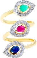 Memoir Emerald,Ruby, Sapphire Color Stone Studded Adjustable Size Brass Cubic Zirconia Yellow Gold NA K Ring