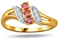 Surat Diamond Diamond & Ruby Ring Yellow Gold Diamond, Ruby 18 K Ring