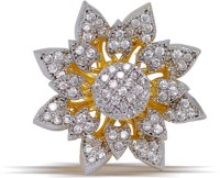 Jaipur Mart Flower Shape Office Wear CZ Clear Stone AD Ring Brass Cubic Zirconia Yellow Gold Ring