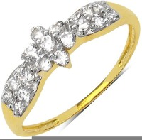 Johareez Brass Cubic Zirconia Yellow Gold Ring