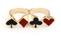 Cinderella Collection By Shining Diva Black & Golden Double Finger Alloy Ring