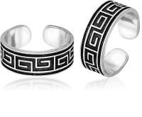 Peora Oxidised Geometric Sterling Silver Toe Ring
