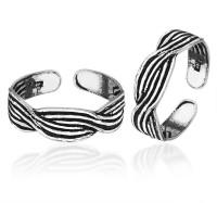 Peora Oxidised Sterling Silver Toe Ring Set