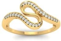 Jewels5 Loasa Yellow Gold Diamond Rhodium Plated 18 K Ring
