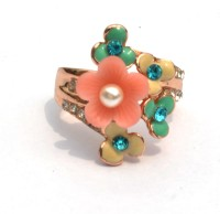 Joovaa Designer Pearl And Crystal Alloy Pearl Rose Gold Ring