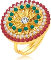 Sukkhi Cluster Designer Traditional Cocktail Gold Plated Alloy 18K Yellow Gold Ring