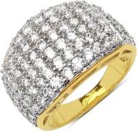 Johareez 5.60 Grams White Cubic Zirconia Gold Plated Brass Ring Brass Cubic Zirconia Brass NA K Ring