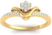 Jewels5 Bloosom Yellow Gold Diamond Rhodium Plated 18 K Ring