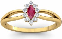 WearYourShine By PCJ The Hristina Diamond Gold Diamond, Ruby 18K Yellow Gold Plated 18 K Ring