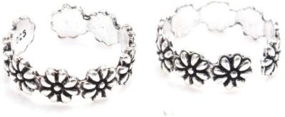 Gandhi Jewellers Beautiful Floral Sterling Silver Toe Ring Set