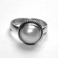 MANIRATHNUM Pearl Gemstone Ring Sterling Silver Pearl Sterling Silver Ring