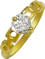 Shining Jewel 24k Eternal Engagement Ring Brass Cubic Zirconia Yellow Gold Ring
