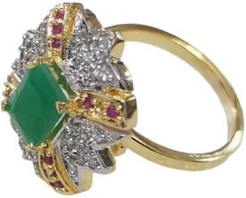 Sheetal Jewellery Brass, Alloy Cubic Zirconia 18 K Ring