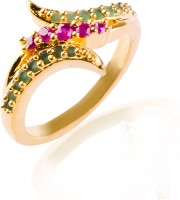 Fashion Bajar Piquant Alloy, Brass Ruby, Emerald 24K Yellow Gold NA K Ring