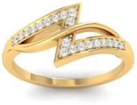 Jewels5 Melissa Yellow Gold Diamond Rhodium Plated 18 K Ring