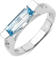 Johareez 1.21CTW Genuine Blue Topaz & White Topaz .925 Sterling Silver Solitaire Ring Silver Topaz Sterling Silver Ring