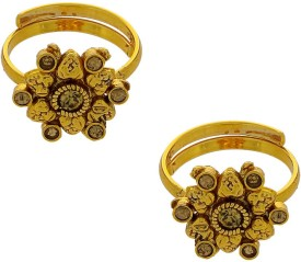 Anuradha Art Traditional Copper 18K Yellow Gold Toe Ring Set