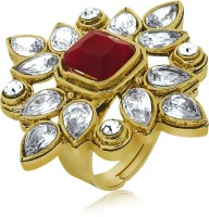 Spargz Ethnic Design Finger Ring Studded With Ruby Alloy NA Yellow Gold NA K Ring