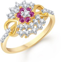 VK Jewels AD And Ruby Studded Heart Alloy Cubic Zirconia Yellow Gold Ring