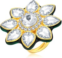 Sukkhi Glittery Designer Traditional Cocktail Gold Plated American Diamond Alloy 18K Yellow Gold Ring