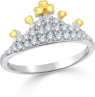 Classic Queens Crown Gold & Rhodium Plated Ring For Women Size10 [CJ1039FRRG10] Alloy Cubic Zirconia White Gold 18 K Ring